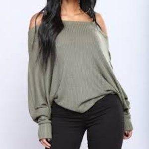Fashion Nova Off the Shoulder Olive Ribbed Blouse